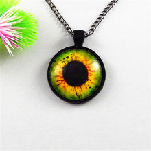 4pc/lot Retro Chain Necklace Glass Cabochon Dome Eyes Bezel Pendant Dragon Eye of Horus 25mm Charm Jewelry Women Gifts GR-163(China)