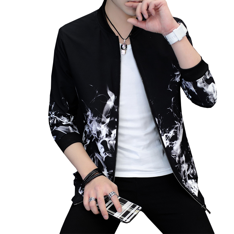 Jacket Men Print Fitness Stand Collar Bomber Jacket Fashion Casual Outwear Mens Coat Bomb Slim Baseball Jackets Brand New ...