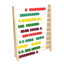 Colorful 10 Beads Wooden Abacus Counting Number Kid Math Learning Teaching Toy цены