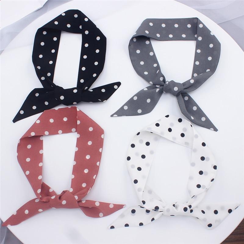 Designer Brand Luxury Print Silk Scarf Bag For Women Head Skinny Long Handle Scarves Wraps