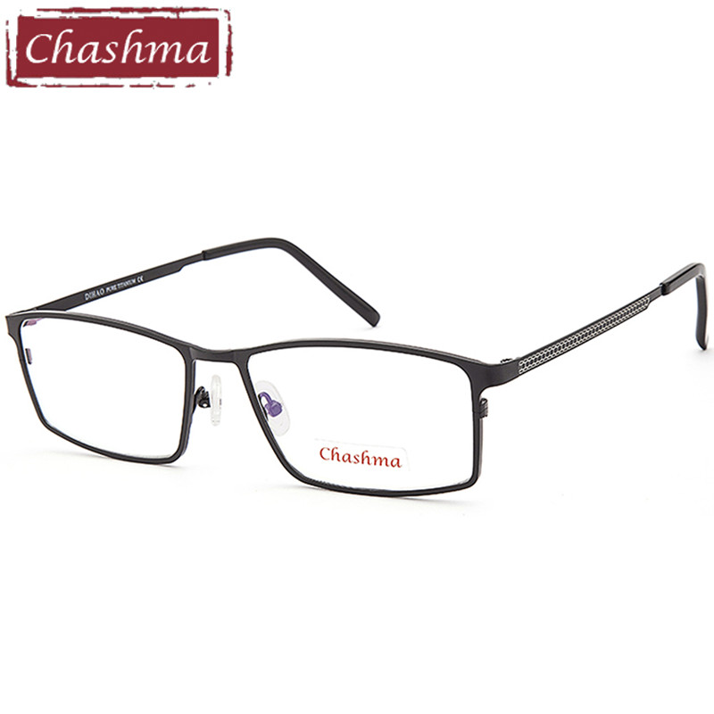 Chashma Gentlemen Pure Titanium Eyeglasses Frame Lentes Optics Top Quality Titanium Frames Male Big Black Frames