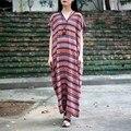 Лето Dress Хлопок Лен Женщины Длинные Халат Vintage Dress O Шеи Лишенный Печати Плюс Размер Платья Случайные Свободные Платья-Макси