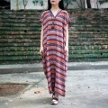 Summer Dress Cotton Linen Women Long Robe Vintage Dress O Neck Stripped Print Plus Size Dresses Casual Loose Maxi Dresses