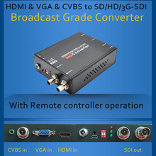 HDMI & VGA & CVBS para SD/HD/3G-SDI Conversor de transmissão Grau com controle remoto