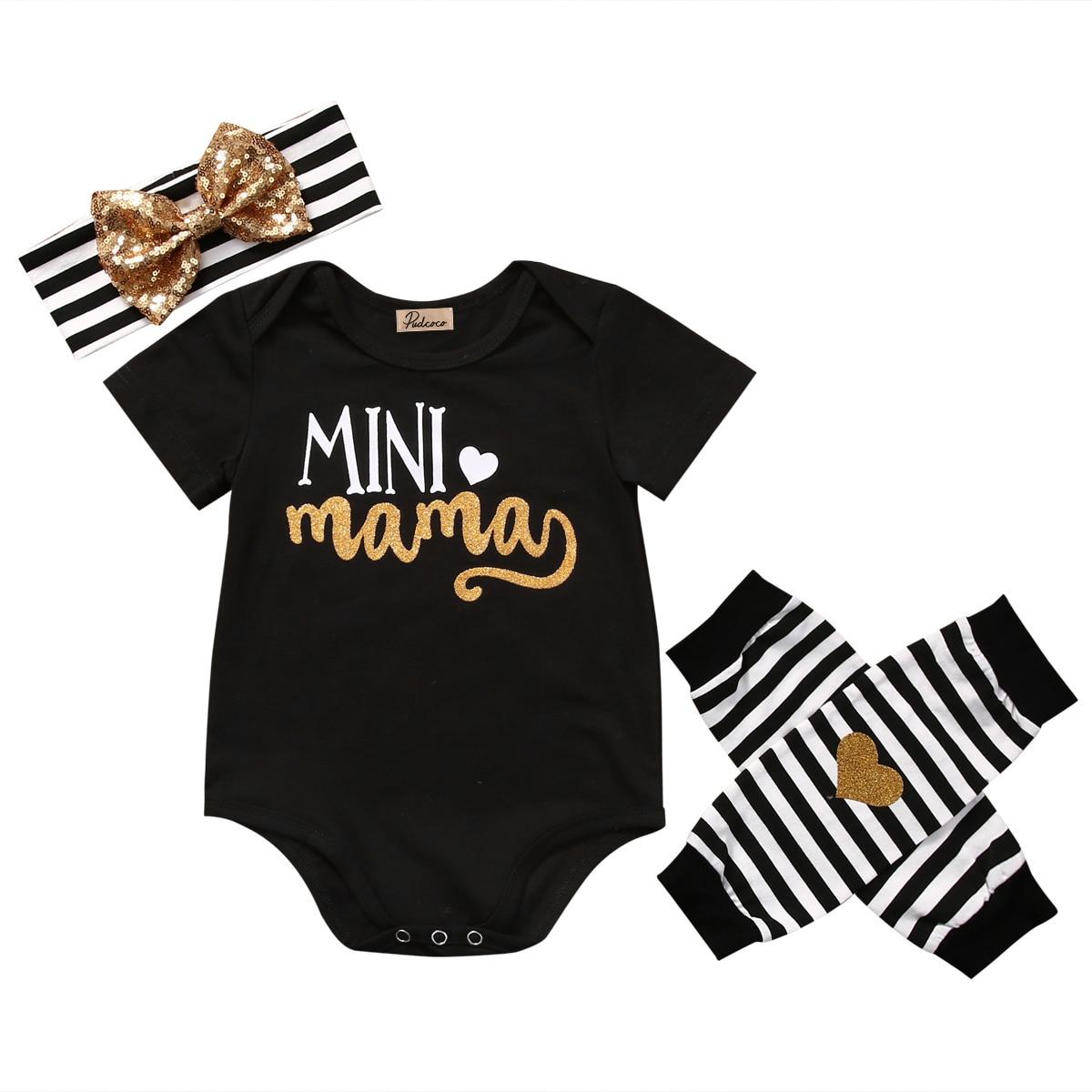 Helen115 Lovely Newborn Baby Boy Girl Letter Printed Short Sleeve Bodysuit+Warm Leg Socks+Headband 0-18M