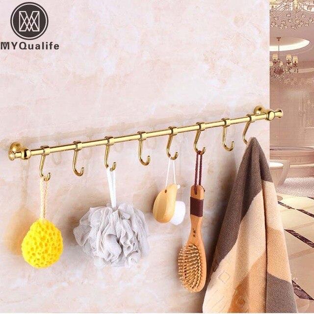 gratis verzending golden in wall badkamer haken rekken keuken messing keuken lepel rack hanger
