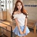 Dabuwawa de manga curta t-shirt verão 2016 coreano novo tudo match barra pescoço branco bonito t camisa top mulheres