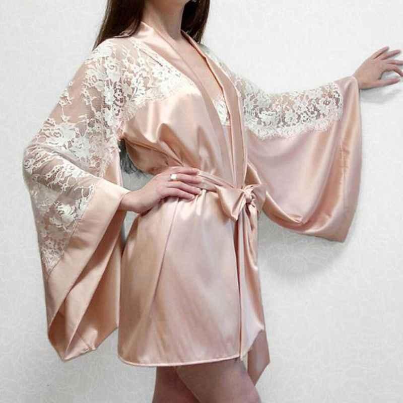 נשים בתוספת גודל ארוך עטלף שרוולים הלבשה תחתונה לילה Robe פו משי Sheer ריס פרחוני תחרה טלאי כתונת לילה Bowknot אבנט