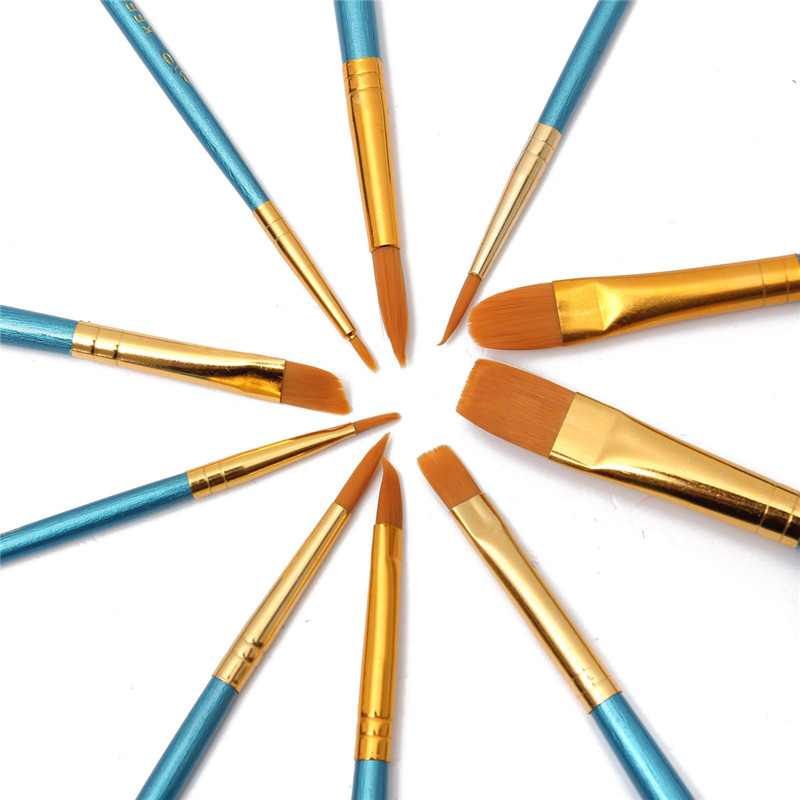 10pcs New Nylon Wooden Handle Paint Brush Set For Kids Watercolor Gouache Drawing Painting Art Supplies  KM88