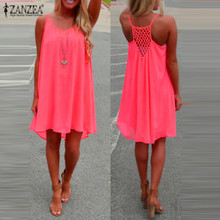 Zanzea 2018 Summer Women Chiffon Short Dress Strappy Sleeveless Hollow Out Sexy Beach Party Dresses Casual Vestido Plus Size 3XL
