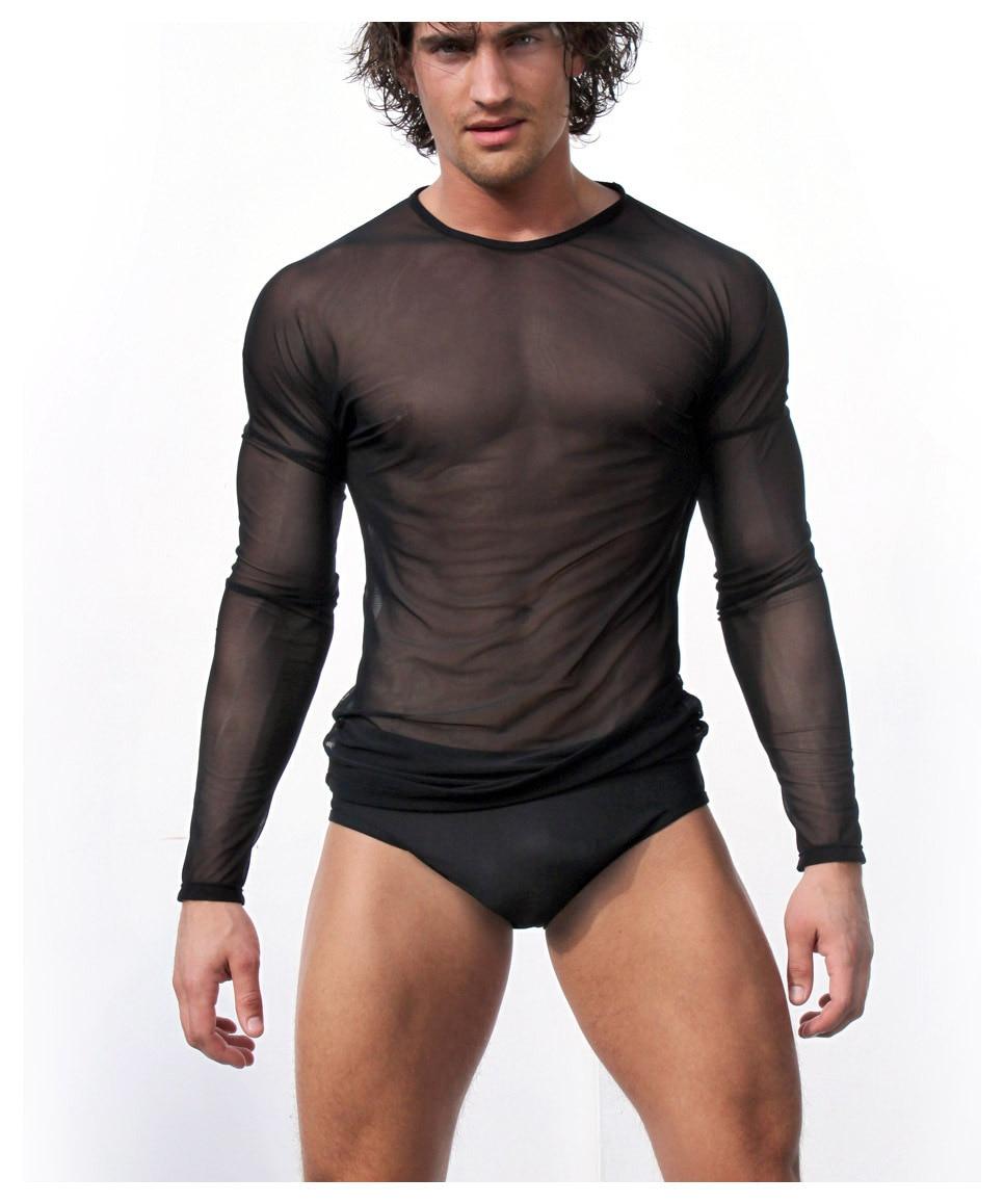 Men Sexy Long Sleeve T-shirt Transparent See Through Nets Yarn Summer Black White see through angel shirt