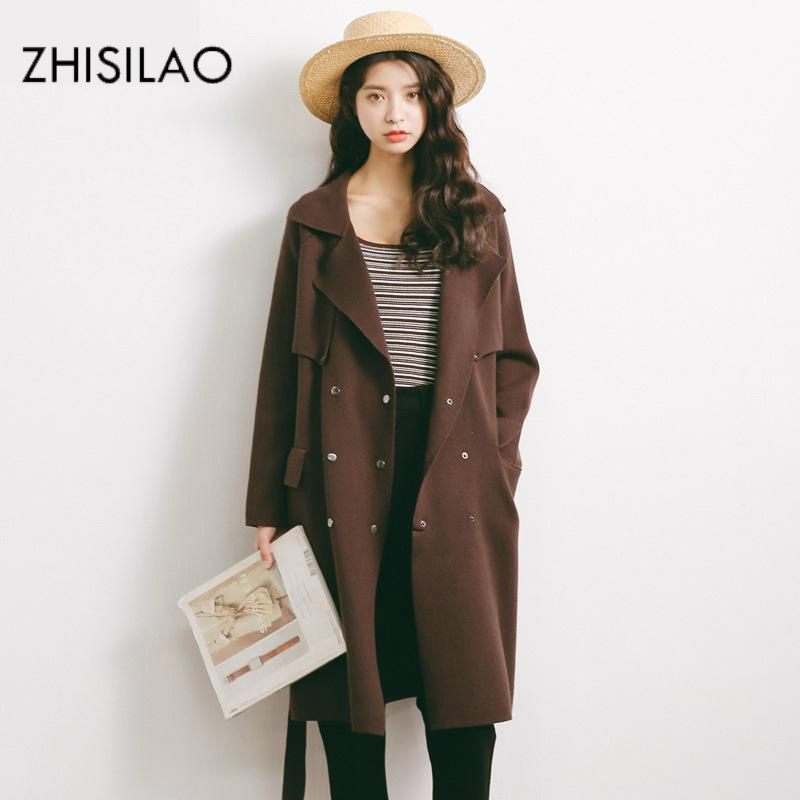 ZHISILAO 2017 Woman Winter Cardigan Pull Femme Winter Poncho Knitted Sweater Woman Coat Sweater Cardigan Feminino Long Cardigan ...