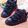2015 tenis BABAYA Invierno nueva moda soft flock cuero gruesos calientes toddle infantil niños chicas zapatos de los niños botas de nieve del tobillo botas
