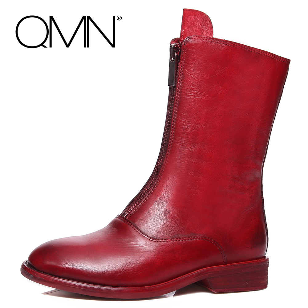 QMN genuine leather font b women b font Mid Calf boots font b Women b font
