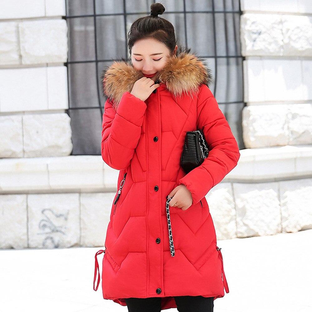 Veste D'hiver Beige Chaud Hiver Les red Femmes Épais Coton pink Col Capuche Mince Pour Manteau À Parka black De Fourrure Outwear Long NyvnwOm08