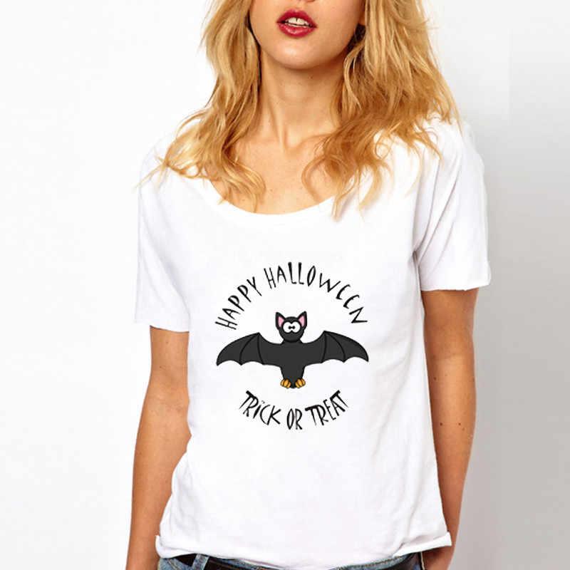 LUS لوس سعيد هالوين الخفافيش طباعة إلكتروني تي شيرت للنساء بالاضافة الى حجم النساء فضفاض قصيرة الأكمام الشرير روك الجرافيك المحملة