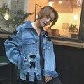 [Soonyour] primavera outono jaqueta jeans e casaco de manga longa das mulheres coreia do estilo cowboy jaquetas bandagem para as mulheres s01105