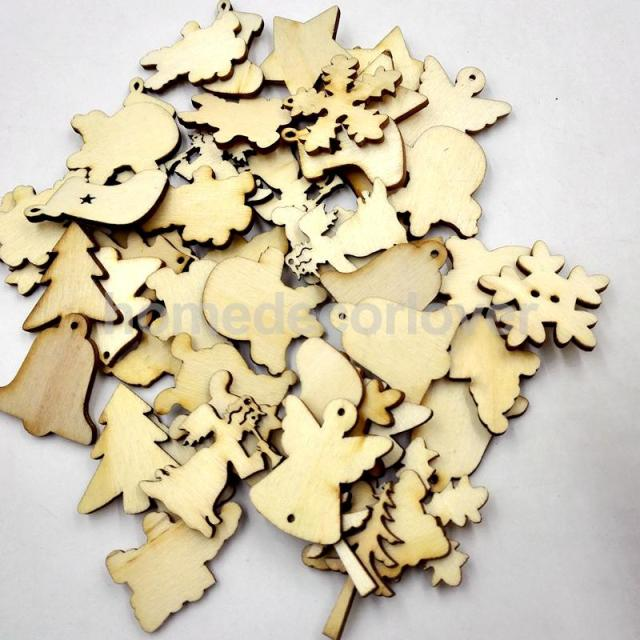 50pcs mixed wooden christmas shapes embellishment blank xmas tree decoration - Wooden Christmas Tree Decorations