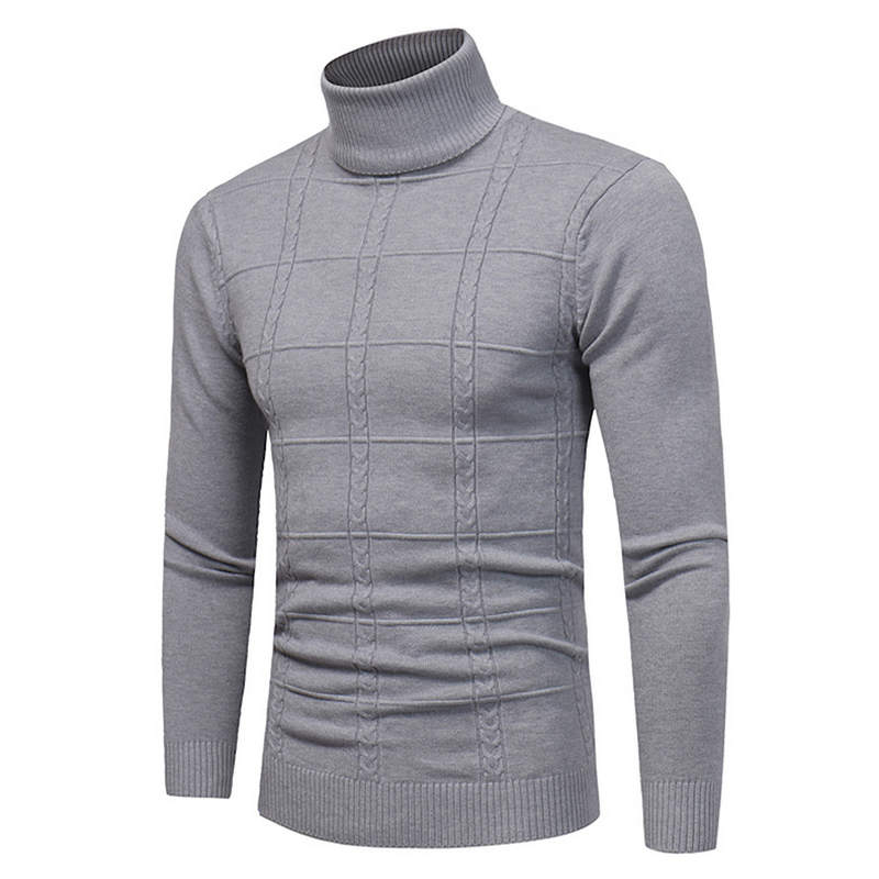 Men's Sweater Turtleneck Pullovers Slim-Fit Knitted Autumn Winter 4XL Brand Casual Solid