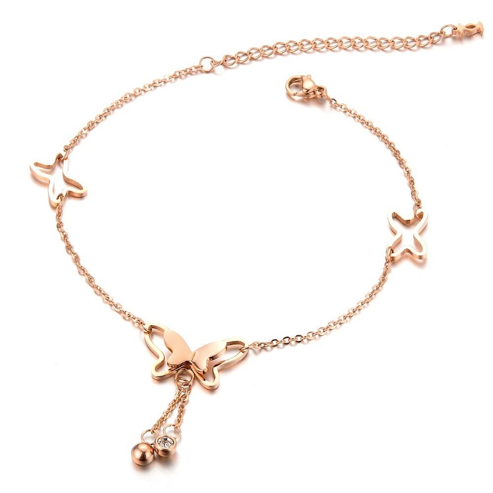 Korean Fashion Charm Rose Gold Color Butterfly Rhinestone Sandal ...