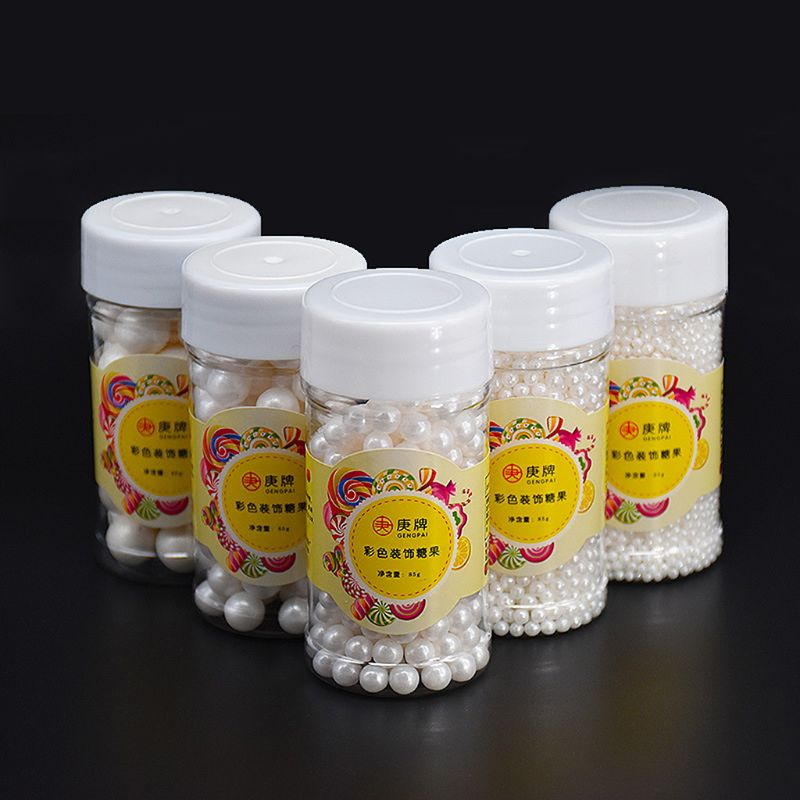 85g White Pearl Can 85g White Pearldy Sugar Edible Beads DIY Cake Ice Cream Chocolate Craft Decoration Baking Decorative Supply