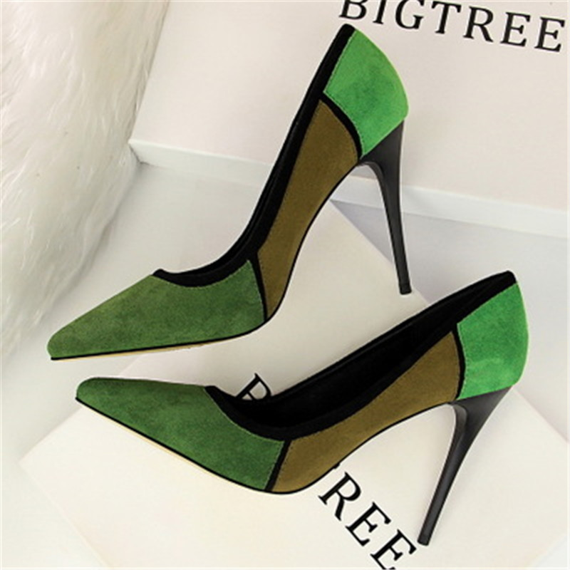 23db0b2ce8e6 Office Shoes Womens Sexy Shoes High Heels Party Shoe Pumps Suede High Heels  Pointed Toe Pachwork
