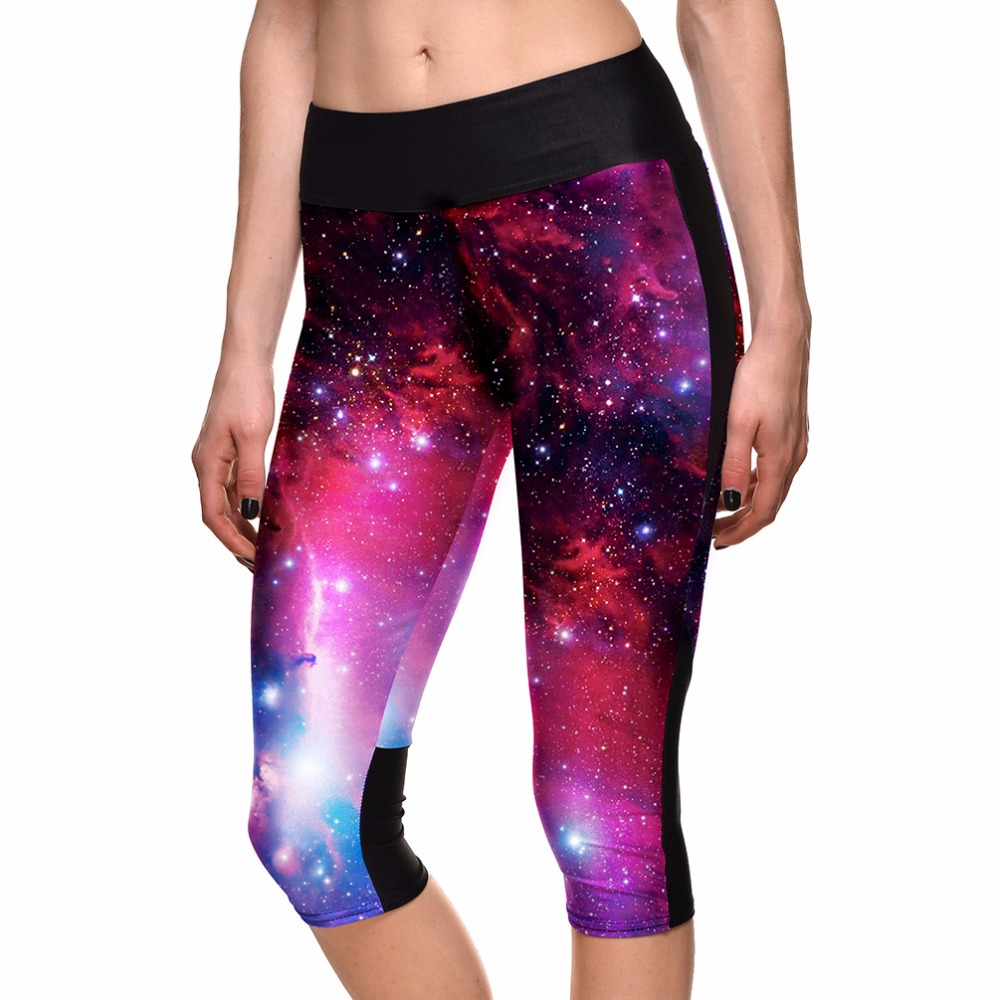 New 3 Patterns Galaxy Space Capris Pants High Waist Big Size S To 4XL Women Capri Sweat pants Fitness Elastic