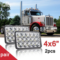 CO LIGHT 2PCS 45W Led Headlight 4X6 High Low 18W Sealed Fit For Kenworth Peterbilt Daf