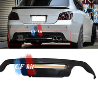 H Style Real Carbon Fiber Rear Diffuser Bumper Lip For BMW 5 Series E60 M5 Auto Tuning Spoiler 2004 2010 Bumpers Car Styling