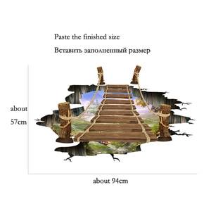 Image 2 - 3D drawbridge simulation Floor/wall stickers for kids rooms decals home decor landscape False windows Wall sticker decoration