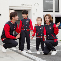 Family Clothing Sets Casual Fashion Colorful Patchwork Baseball Family Matching Suits Lovely Family Sets