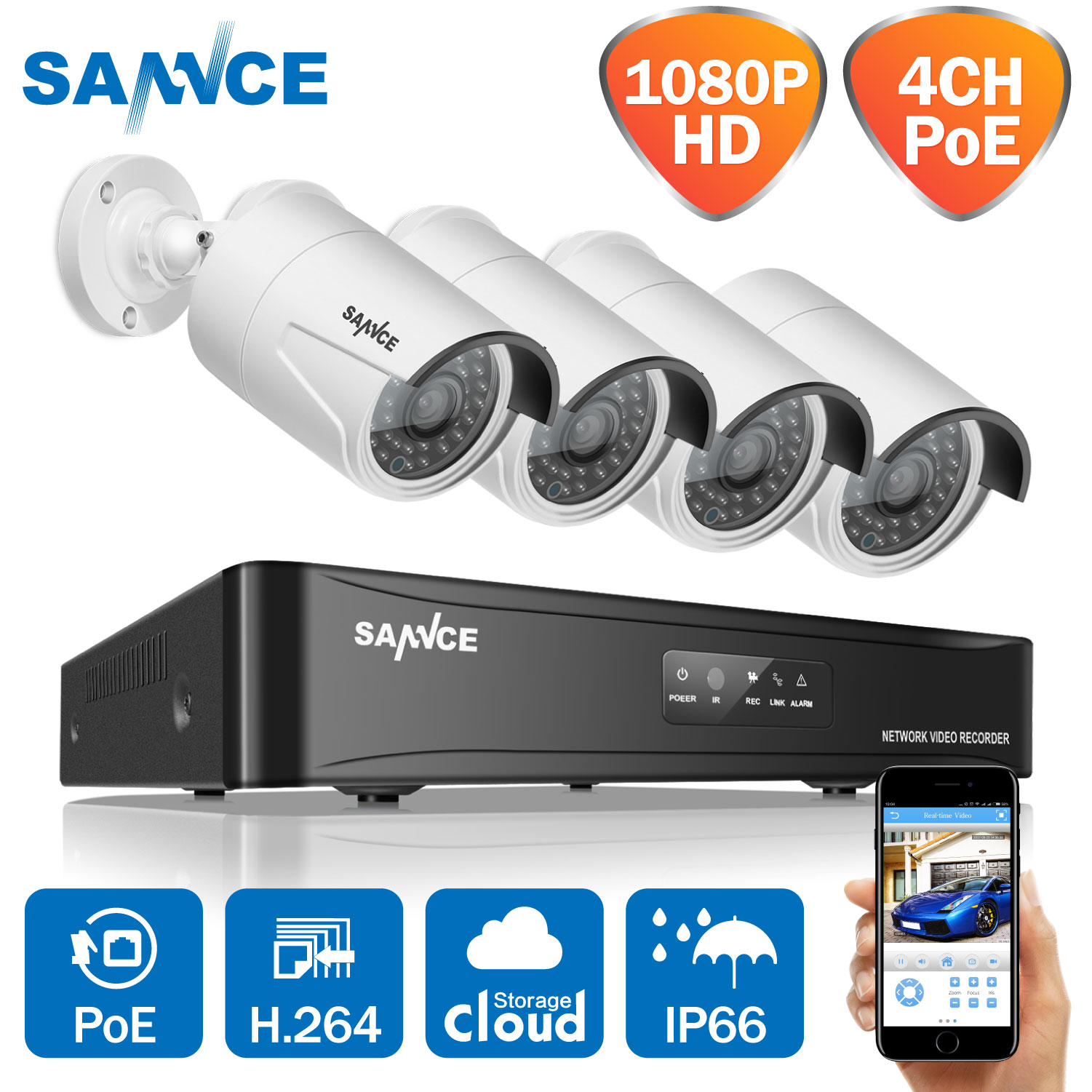 SANNCE 1080P POE video surveillance kit 4CH NVR cctv camera system 4PCS 2.0 MP 1920*1080 Weatherproof CCTV Security IP camera Стикер