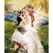 DIY Diamond Painting Angel girl Cross Stitch Full Diamond cat diamond embroidery rhinestones Christmas gift(China)