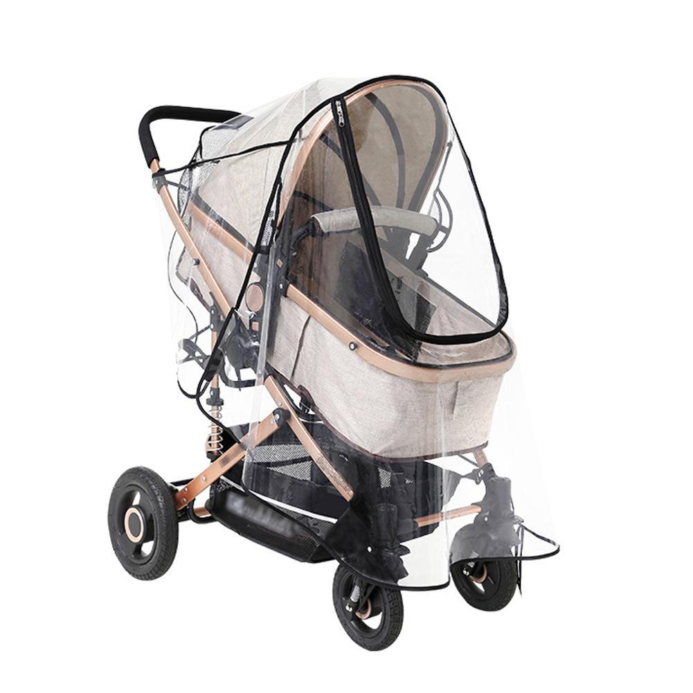 Stroller Rain Cover Transparent Wind Dust Shield Zipper Open Raincoat Waterproof