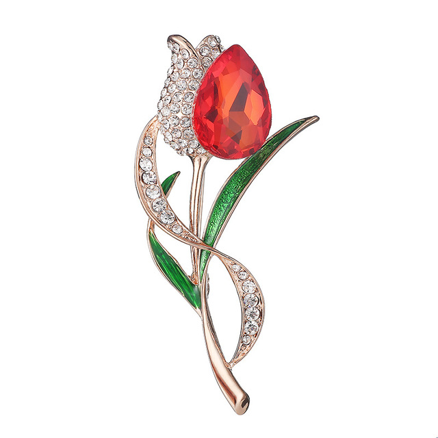 9e9abe49d OneckOha Rhinestone Tulip Brooches Crystal Flower Pin Russia Daughter  Mother Gift