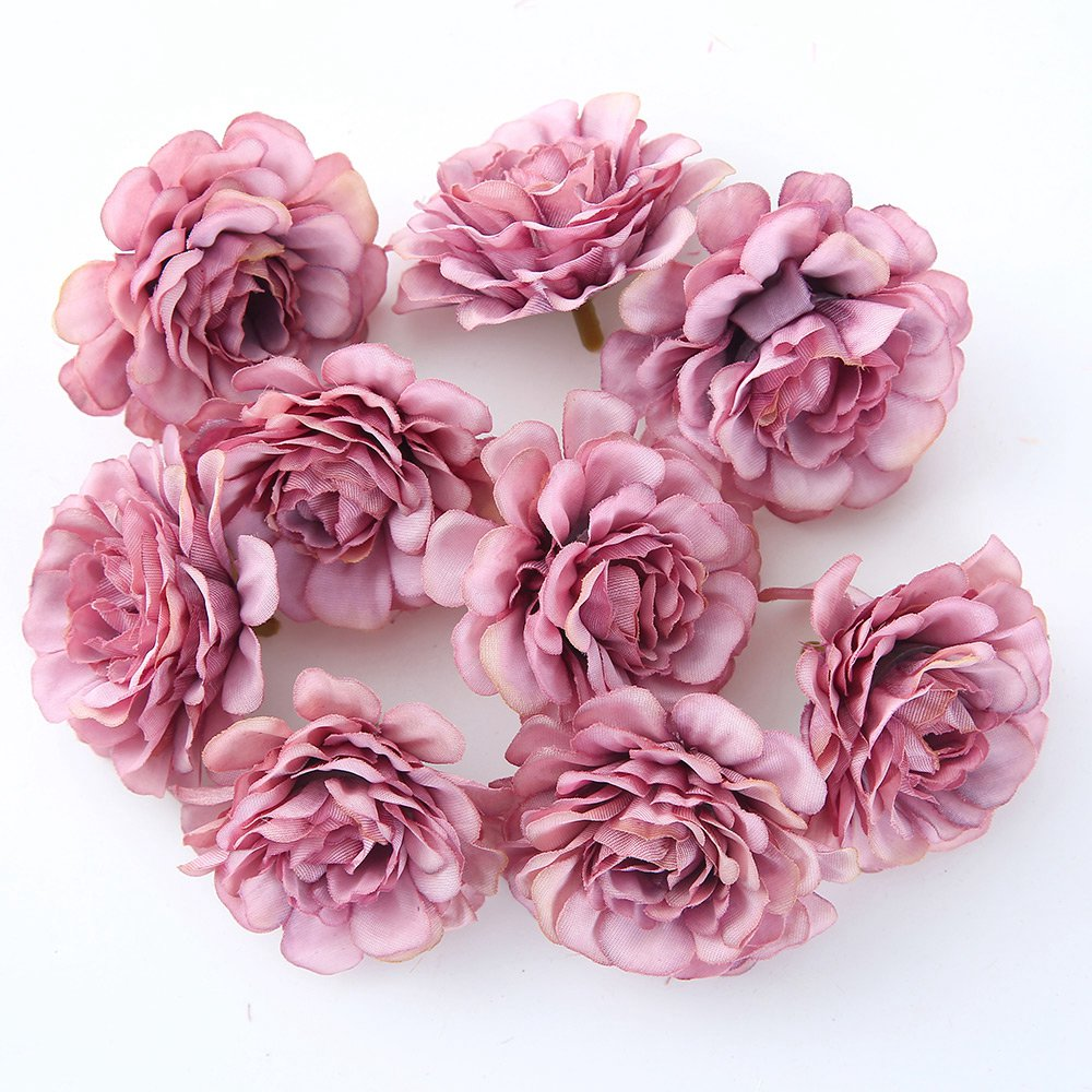 10pcs/lot 5CM Silk Rose Head Artificial Flowers For Wedding Party And Home Decorations 3