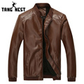 Hot Selling Autumn Men's Solid Color PU Leather Asian Size M-3XL Jacket New Design Male Stand Collar Jacket MWJ1829