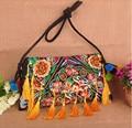 Online hot sales Folk handmade tassel crossbody small bags Vintage canvas kelsang flowers embroidery shoulder Travel bags