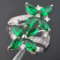 New Hot Sell! Green Stone Cubic Zirconia For Women Silver Jewelry Ring Size 6 7 8 9 Free Shipping ED054