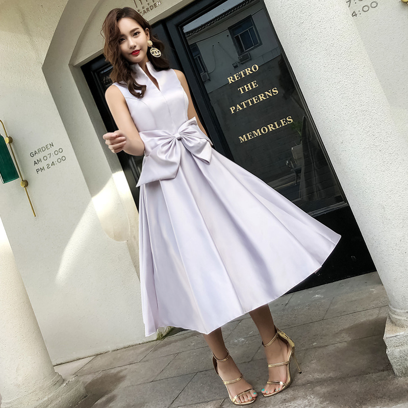 2019 New Fashion   Cocktail     Dress   Elegant Tie Bow Turtleneck Satin Party Gown Sleeveless Tea-length Zipper Back Formal   Dress   E396