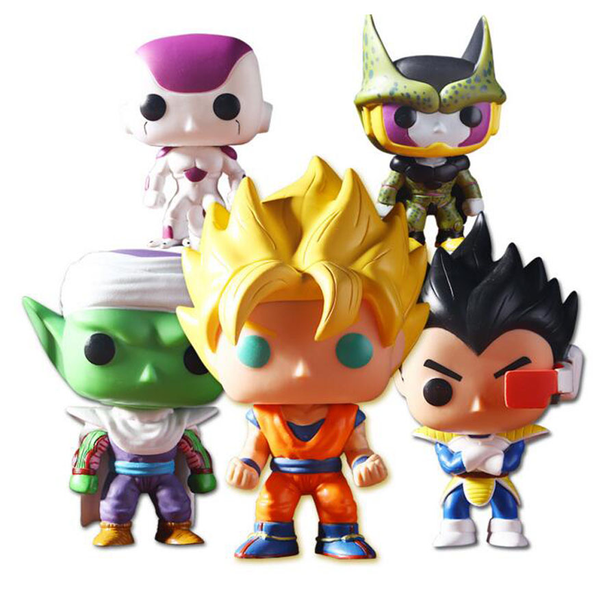 2017 New 10cm PVC Dragon ball z Super Saiyan Goku Trunks Cell Vegeta Frieza Piccolo action figure toys Dragon Ball z Goku vegeta  new goku 14cm vegeta goku trunks dragon ball z resurrection f super saiyan god comics pvc action figures toy for kids