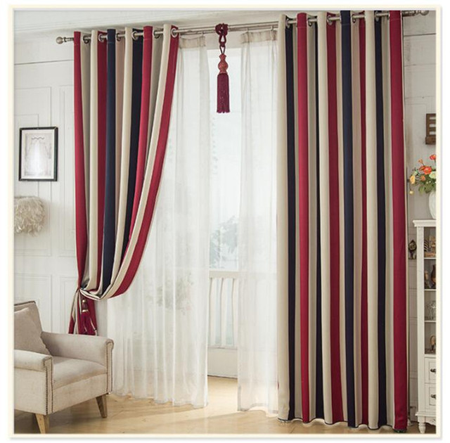 Red White Blue Stripe Luxury Blackout Window Curtains For