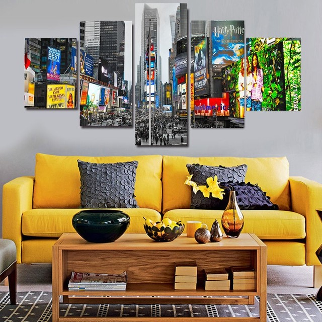 Hot Selling 5 Panels New York Times Square Landscape Wall Art ...