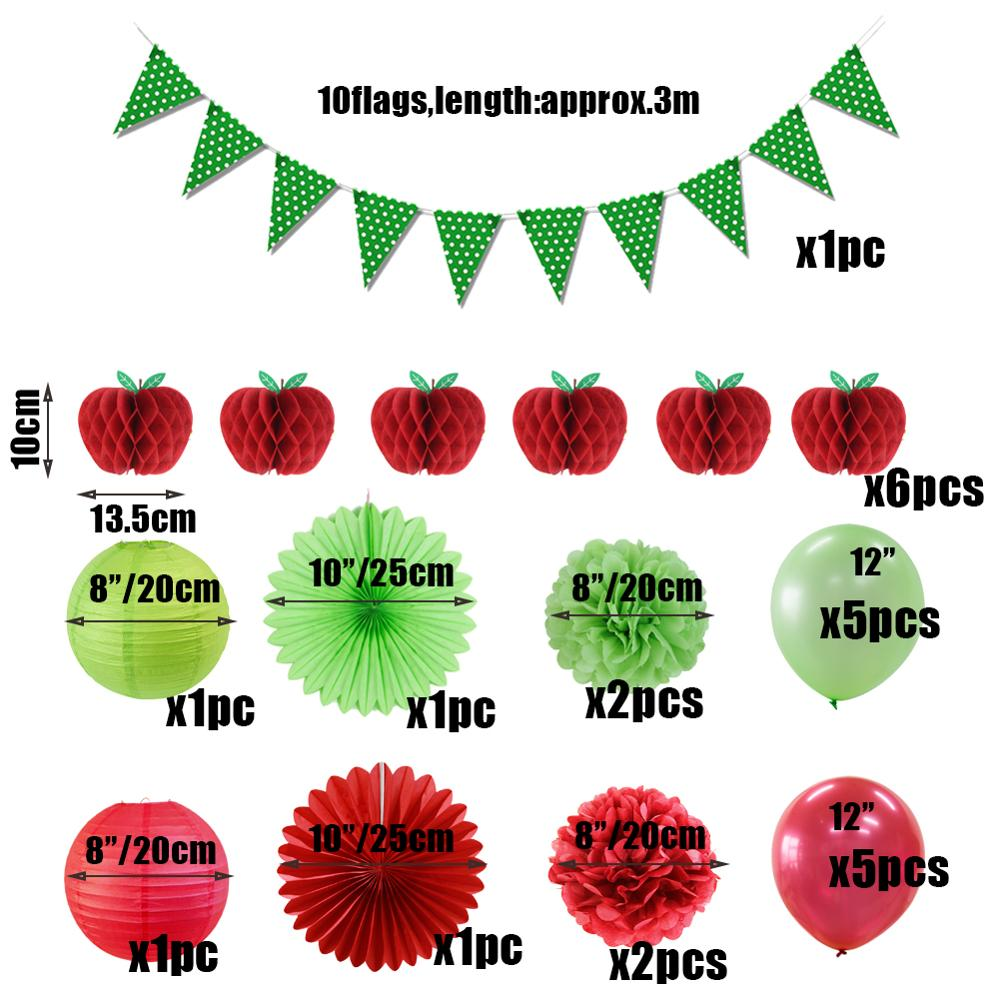 25pcs Red Apple Decorations Tissue Paper Banners Garland DIY Pom Flowers Fruit Honeycombs Hanging Apple Themed Party Supplies in Party DIY Decorations from Home Garden