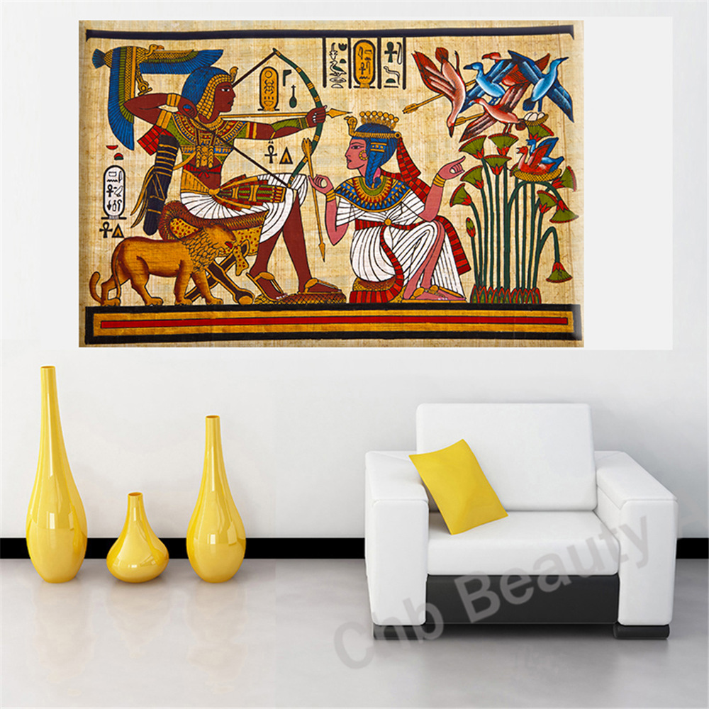 Buy pharaoh egyptian decor canvas for Wall art sets for living room