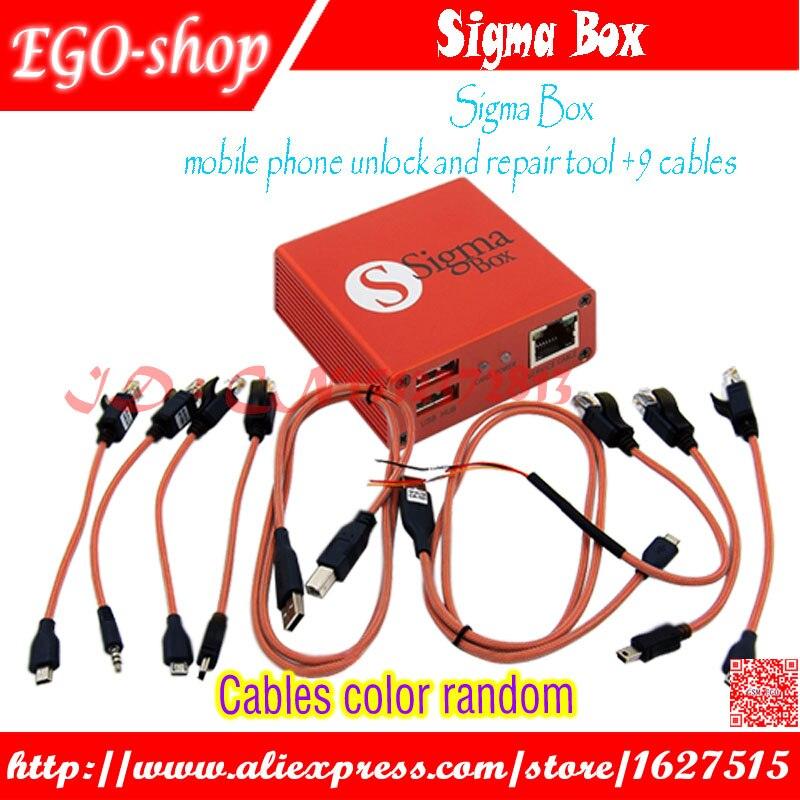 Gsmjustoncct Sigma Box outil de déverrouillage et de réparation de téléphone portable pour Nokia & ZTE & Motorola pour MTK & Huawei (9 câbles) (version de base)