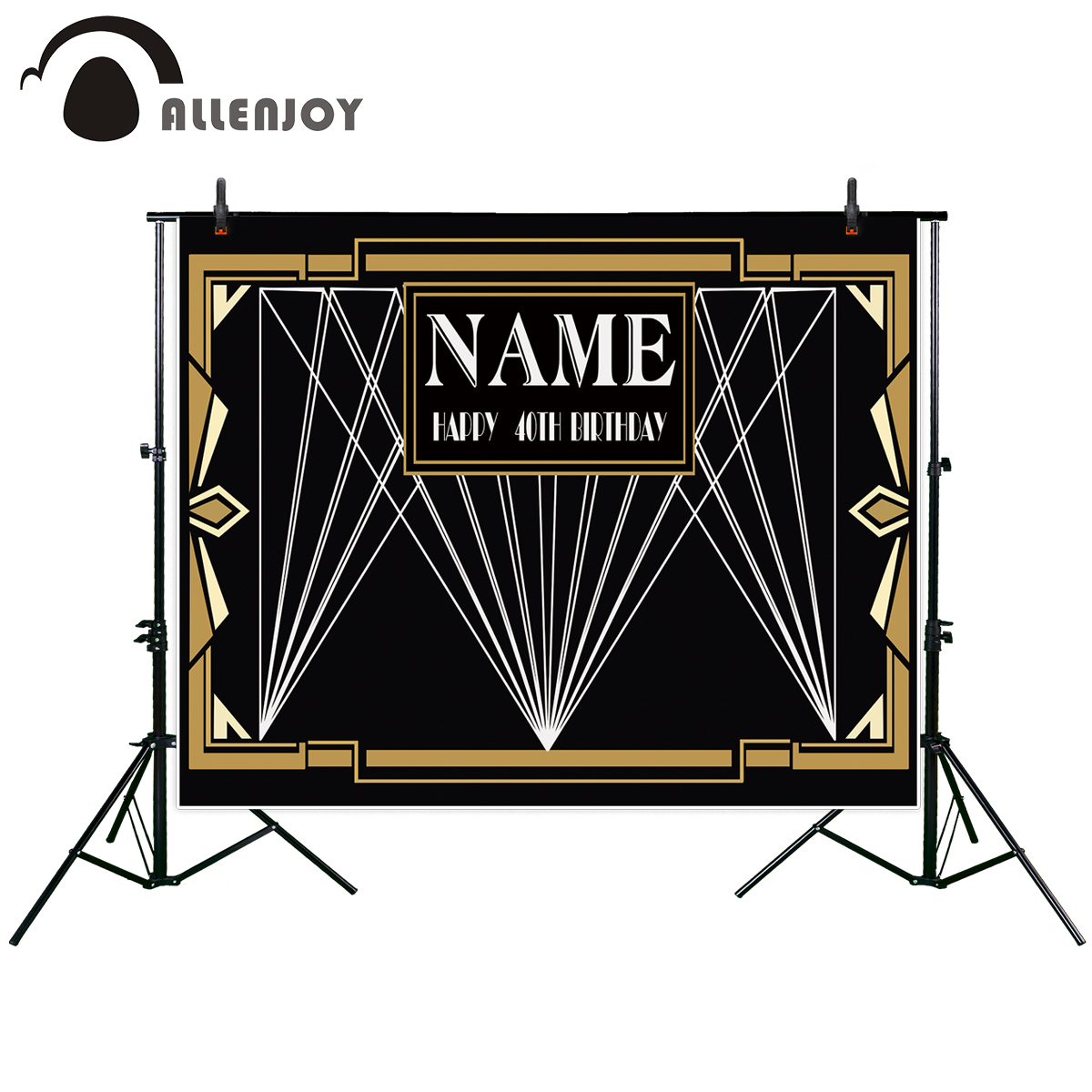 Allenjoy great gatsby birthday backdrop black party golden banner photo studio booth background newborn baby shower photocall fitzgerald f the great gatsby stage 5 сd