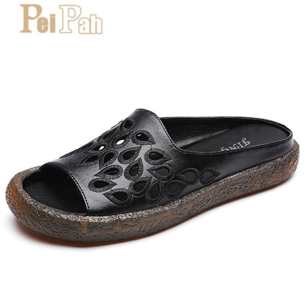 PEIPAH 2019 été nouveau cuir véritable femmes pantoufles solide bout ouvert Zapatillas Mujer fond doux antidérapant creux Femme pantoufles