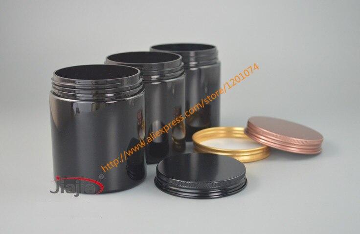250g PET black Cream Jar with goldbronzeblack aluminum Cap,Makeup Tool 250ml Face Mask Container,250ml food storage