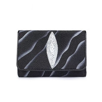 Fancy Genuine Stingray Skin Female Short Card Holders Wallet Purse Exotic Leather Magnetic Button Closure Women's Trifold Wallet